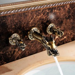 Commercial Style Kitchen Faucet Cheap Extractor Fan Ferrara Antique Brass Dragon Shaped Dual Handle Wall ...