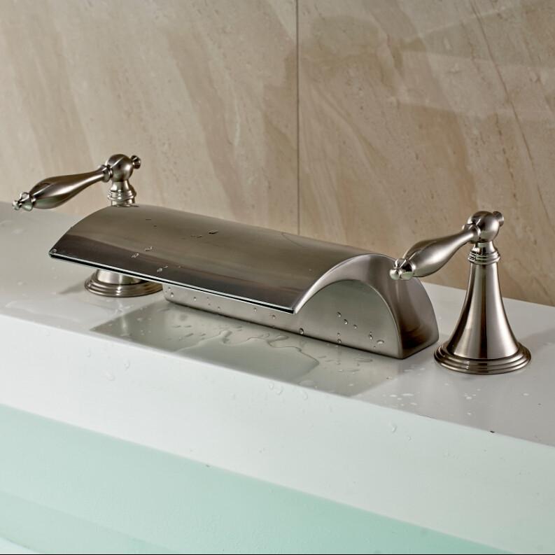 athenian double handled deck mount brushed nickel bathtub faucet