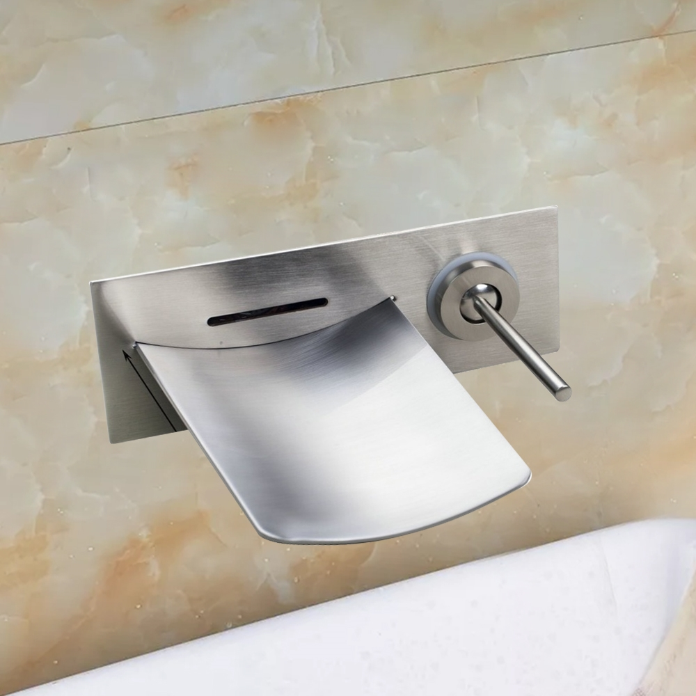 fontana san busto wall mount waterfall brushed nickel bathroom faucet