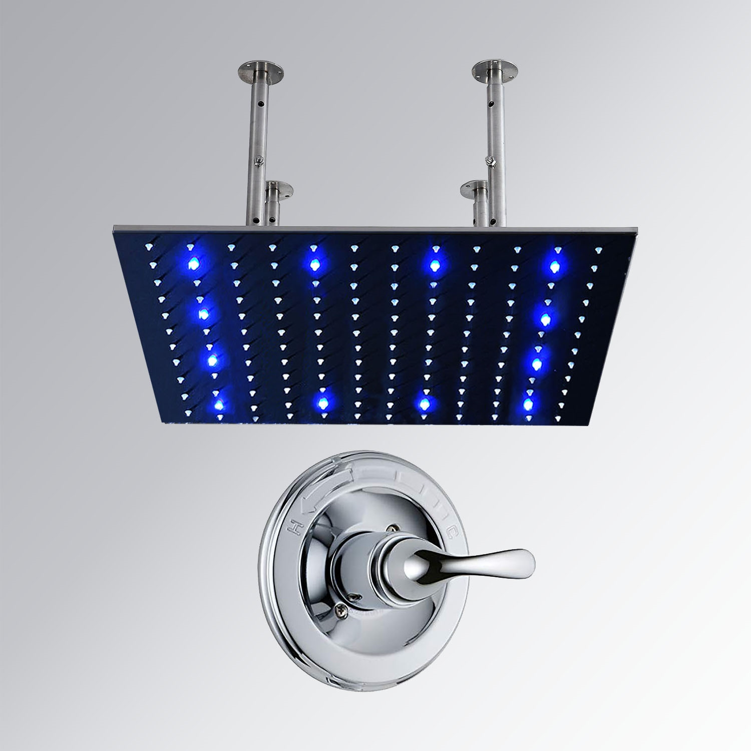 40 Stainless Steel Square Color Changing LED Rain Shower
