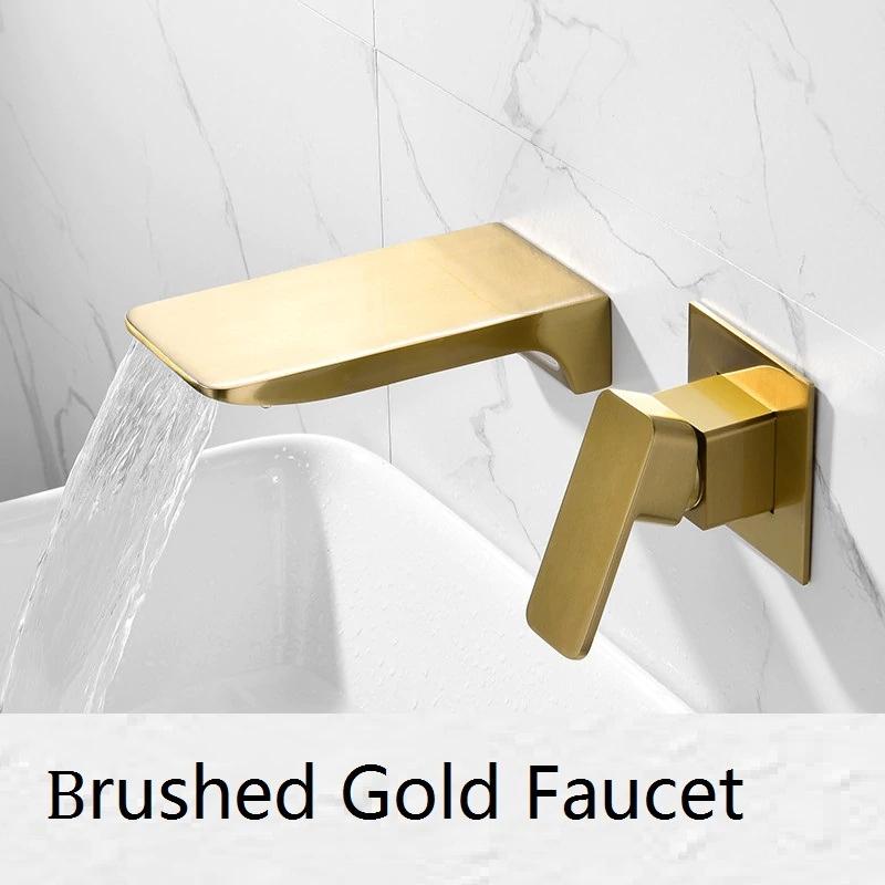 fontana napoli luxury wall mount brushed gold waterfall sink faucet