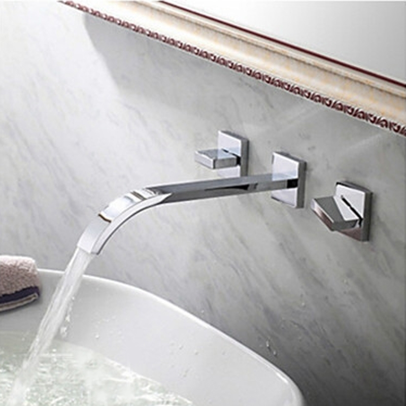 fontana wall mounted chrome bathroom sink faucet