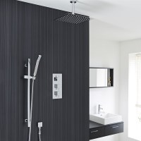 "12"" Chrome Finish Ceiling Mount Square Rain Shower System ..."