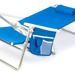 Beach Chair Pillow With Strap Accent Writing On It 5 Position Aluminum Frame By Trademark Innovations Blue