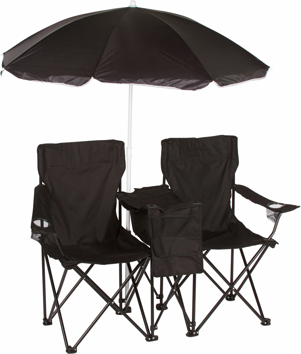 Beach Chairs With Umbrella Double Folding Camp And Beach Chair With Removable Umbrella And Cooler By Trademark Innovations Black