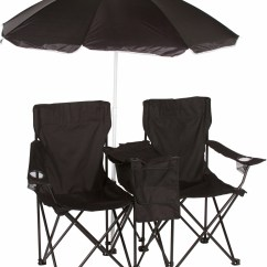 Beach Chairs And Umbrella Chippendale Rocking Chair Double Folding Camp With Removable Cooler By Trademark Innovations Black