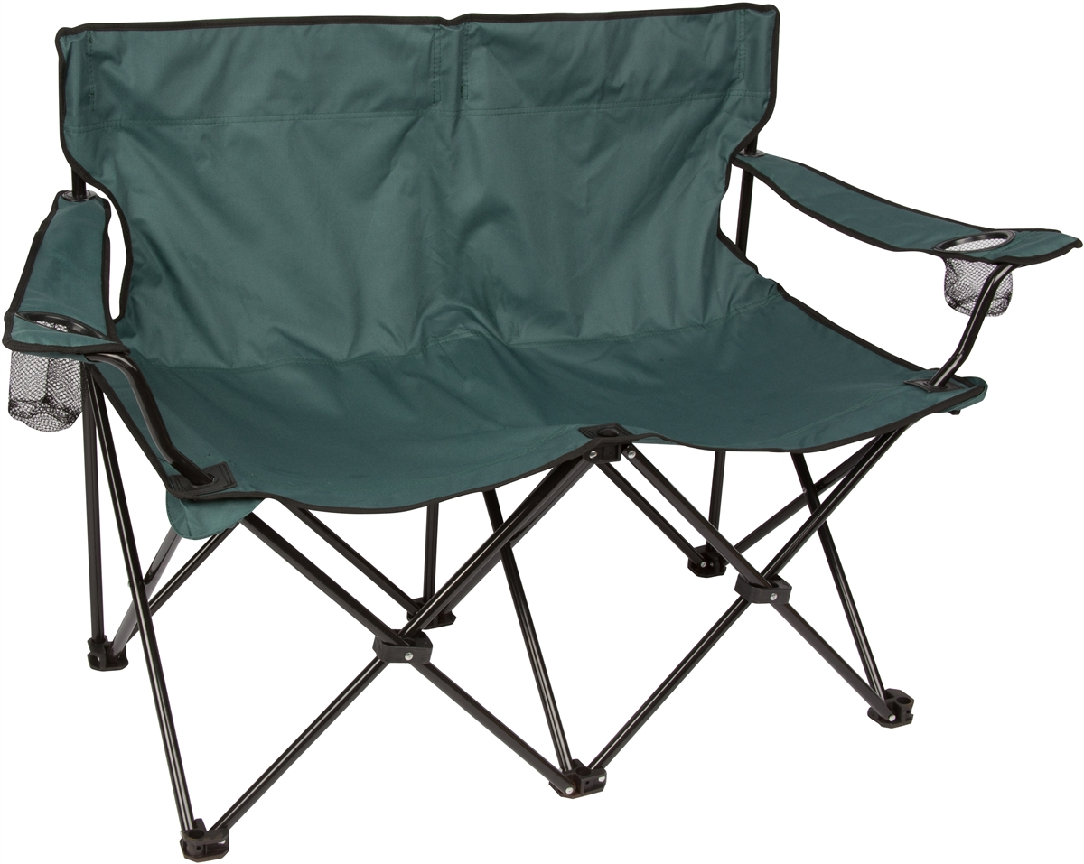 folding loveseat lawn chair cool dining chairs style double camp with steel frame by