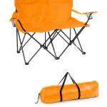 Loveseat Style Double Camp Chair With Steel Frame By Trademark Innovations Orange 31 5 H