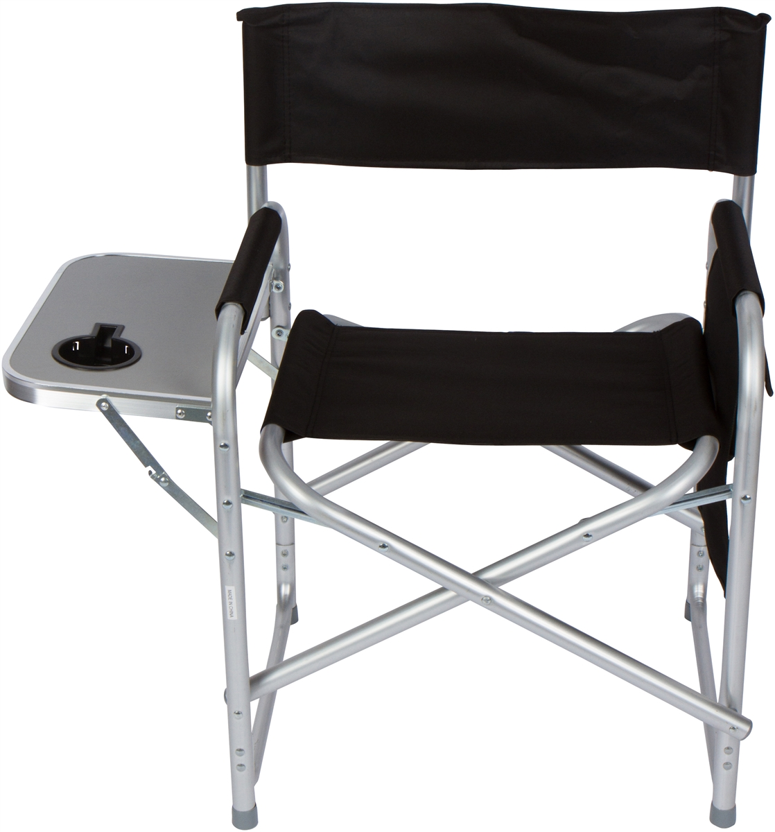 Folding Directors Chair with Aluminum Side Table Storage