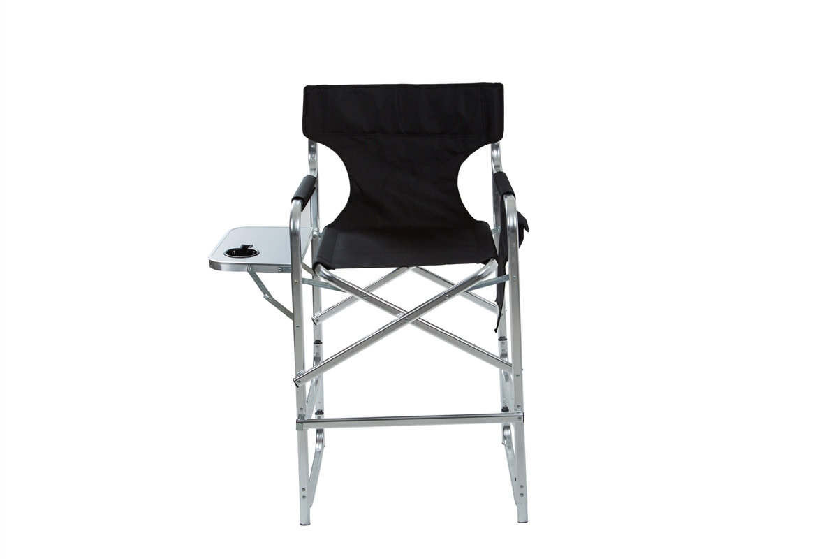 Folding Directors Chair With Side Table Aluminum Frame Tall Metal Director S Chair With Side Table By Trademark Innovations Black