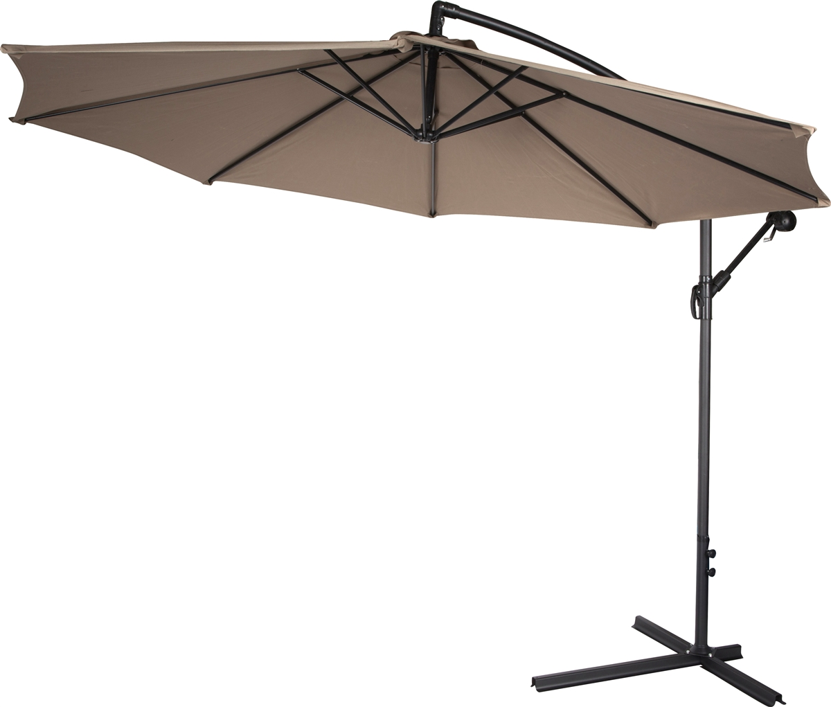 10 deluxe polyester tan offset patio umbrella by trademark innovations