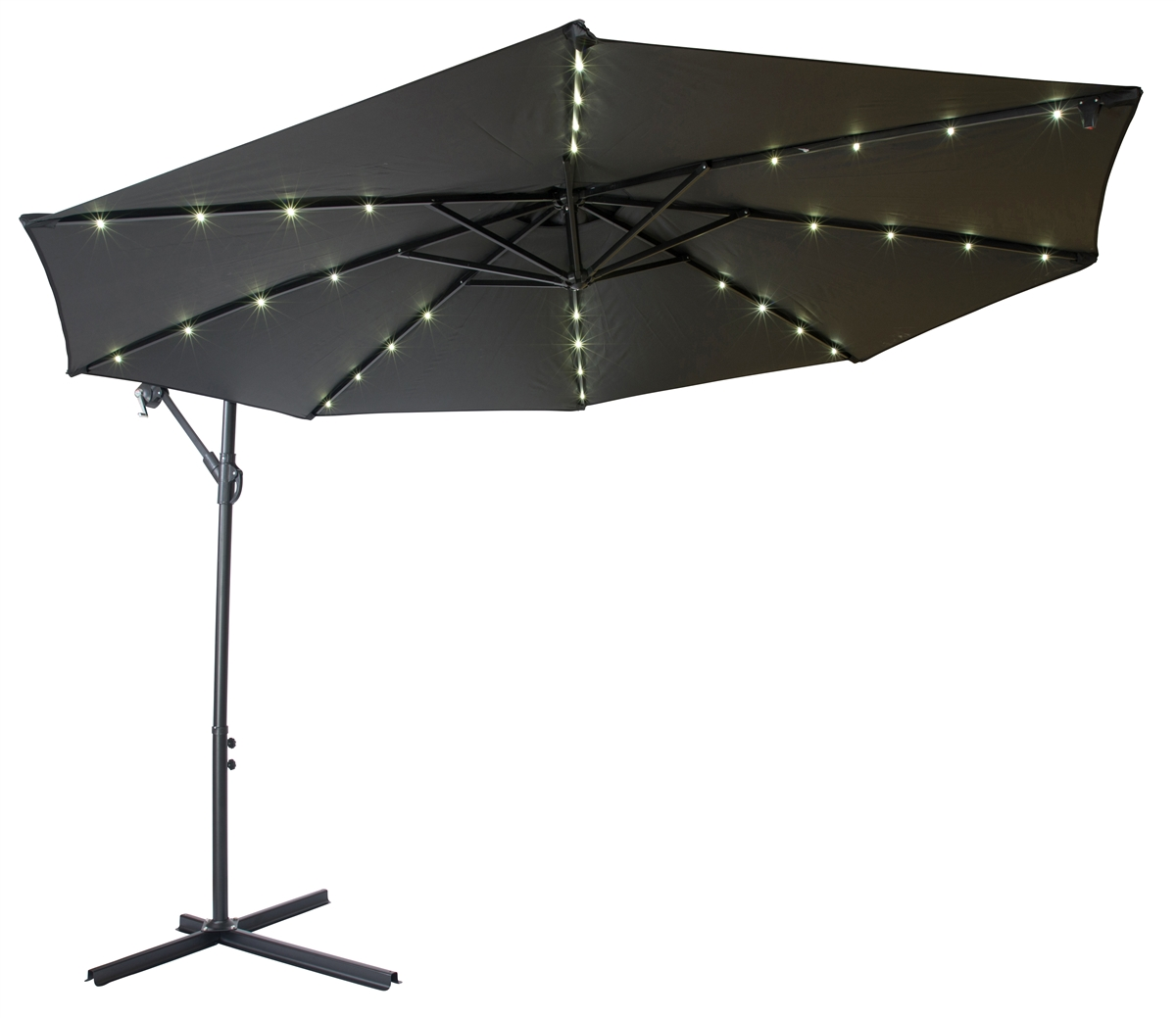 10 deluxe polyester offset patio umbrella with led lights by trademark innovations black
