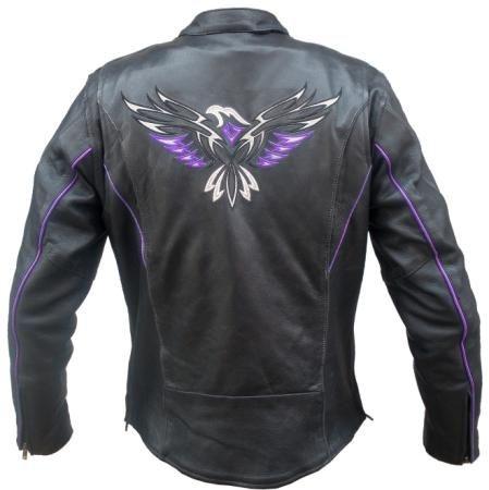 womens purple eagle leather
