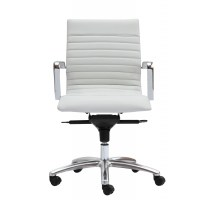 Zetti Modern White Leather Office Chair