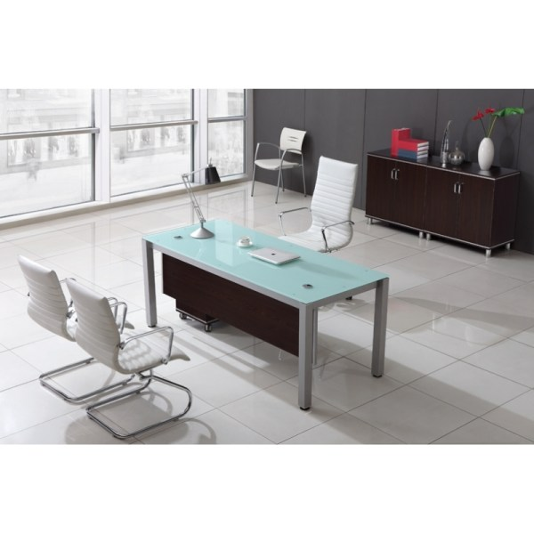 Corp Design Sling Series Glass Top Executive Desks Cd