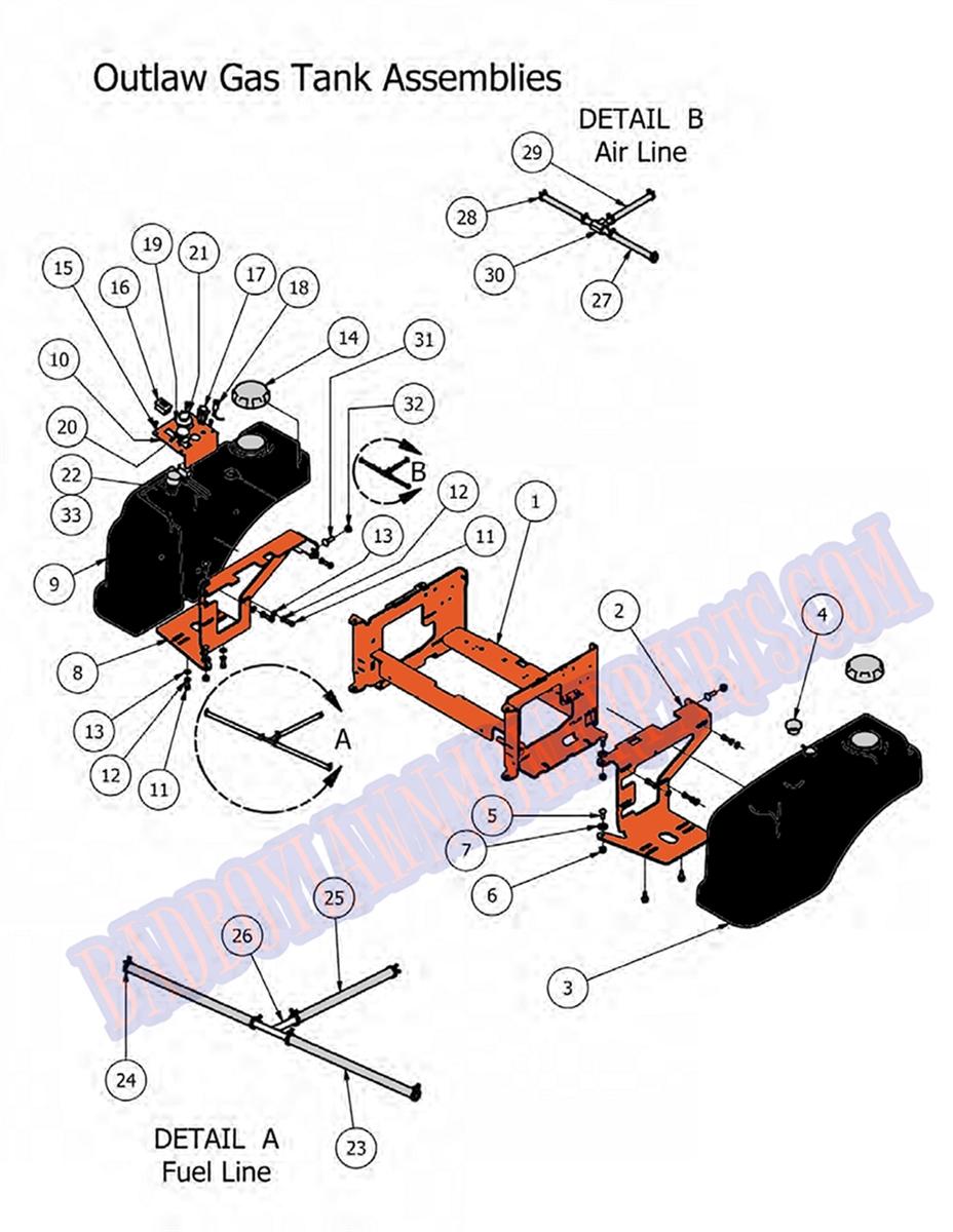 bad boy mower part 2012 outlaw fuel tank [ 928 x 1200 Pixel ]