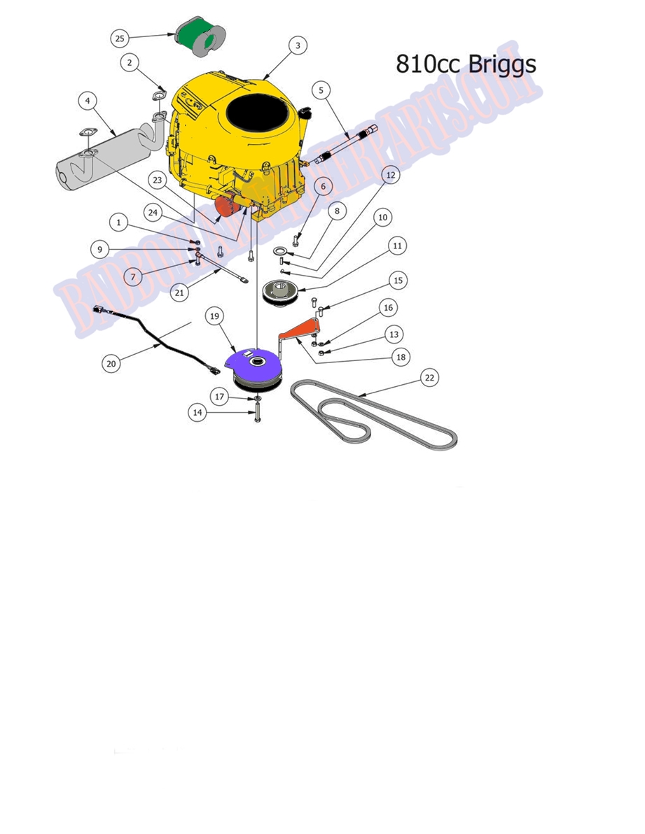 bad boy mower part 2014 outlaw 810 cc briggs engine clutch [ 921 x 1192 Pixel ]