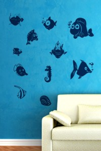 Fish Wall Decals - fish wall stickers 2016 - grasscloth ...