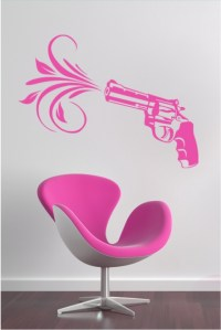 Pink Pistol Wall Decals, Wall Stickers Art Without ...