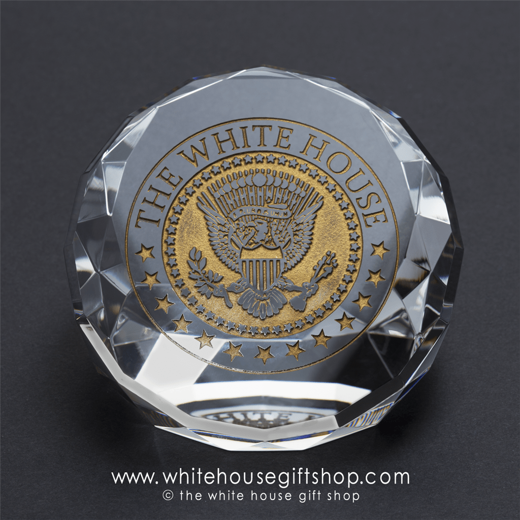 White House Seal Glass Display Paperweight Features