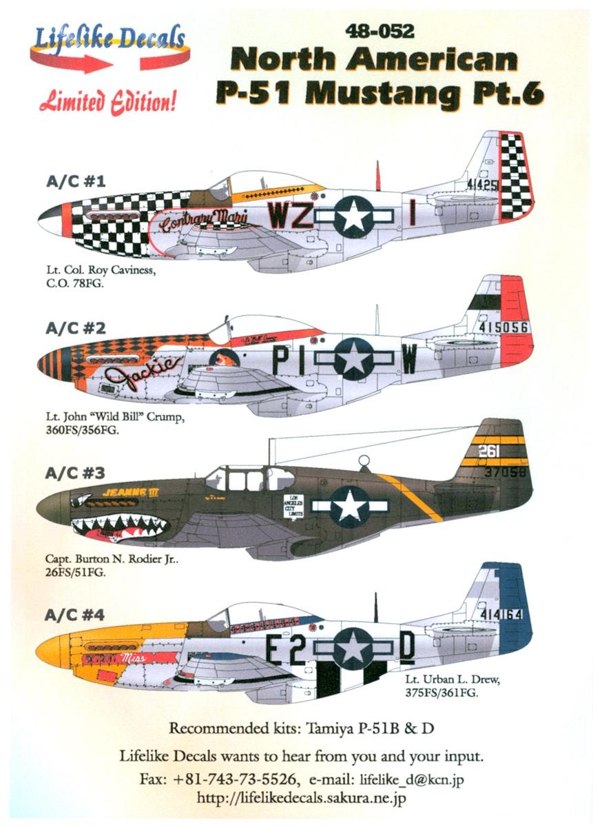 P-51 Mustang : mustang, Lifelike, Decals, 48-052, North, American, Mustang,