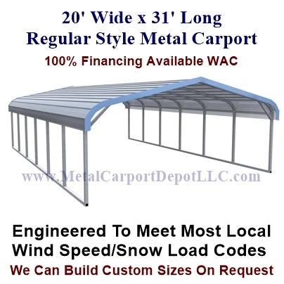 20 X 31 Metal Carport Regular Style Roof Sale Price 1 945 00