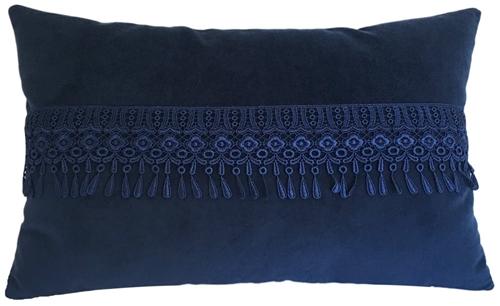 blue velvet w teardrop fringe decorative throw pillow cover cushion cover 14x22