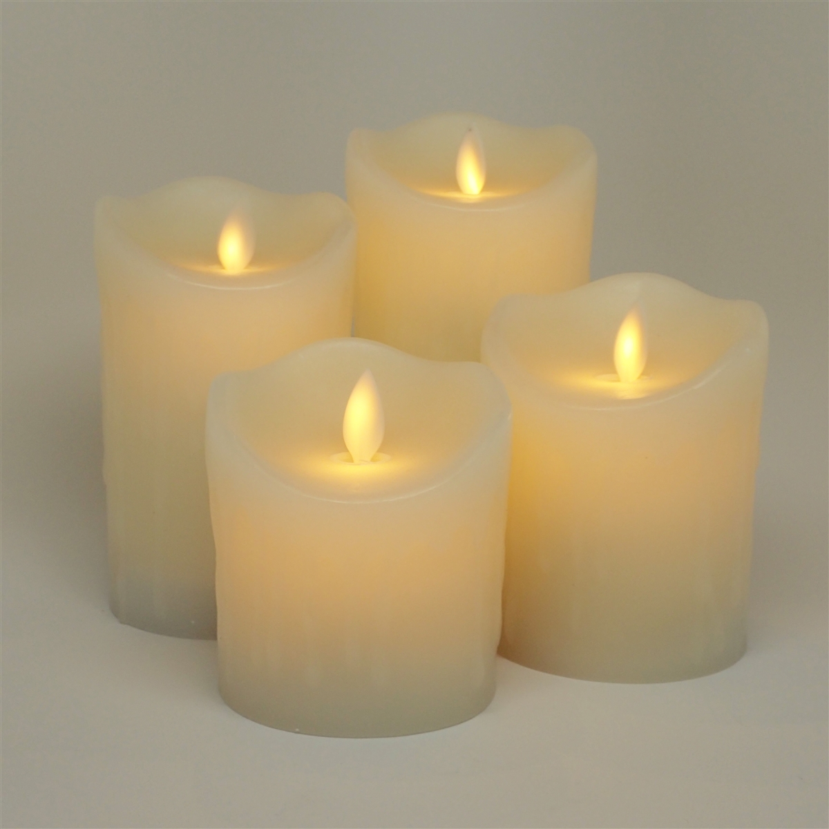 Luminara Moving Flame Action - Indoor Flameless LED Candle Set of 4 - Ivory Dripping Wax ...