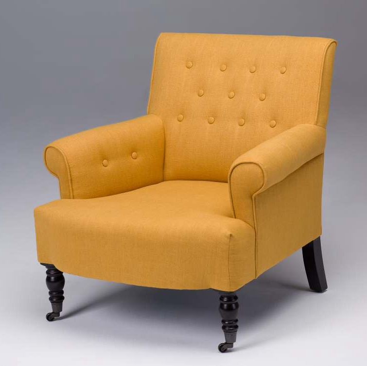 tufted yellow chair fishing and umbrella furniture accent chairs beige brown seriena madison back linen sofa with coasters in