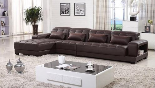 seriena w series modern l shaped 3 piece sectional sofa with chaise lounge in brown top grain leather