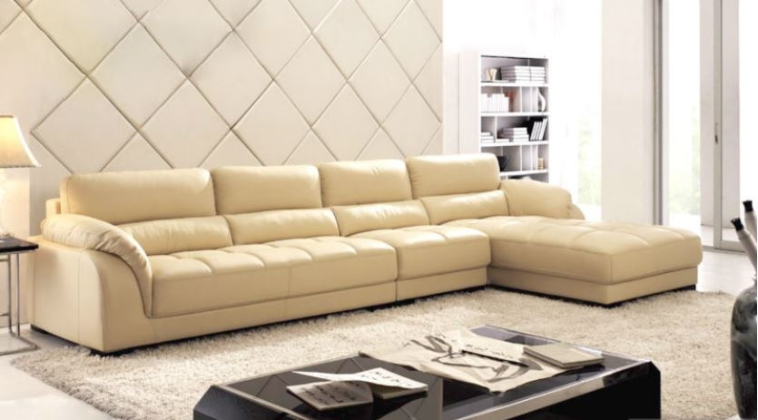 seriena w series l shaped 3 piece sectional couch with chaise lounge in beige color with top grain leather