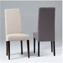 High Back Dining Chair Blue Chairs For Living Room Linen Seriena In Beige Gray