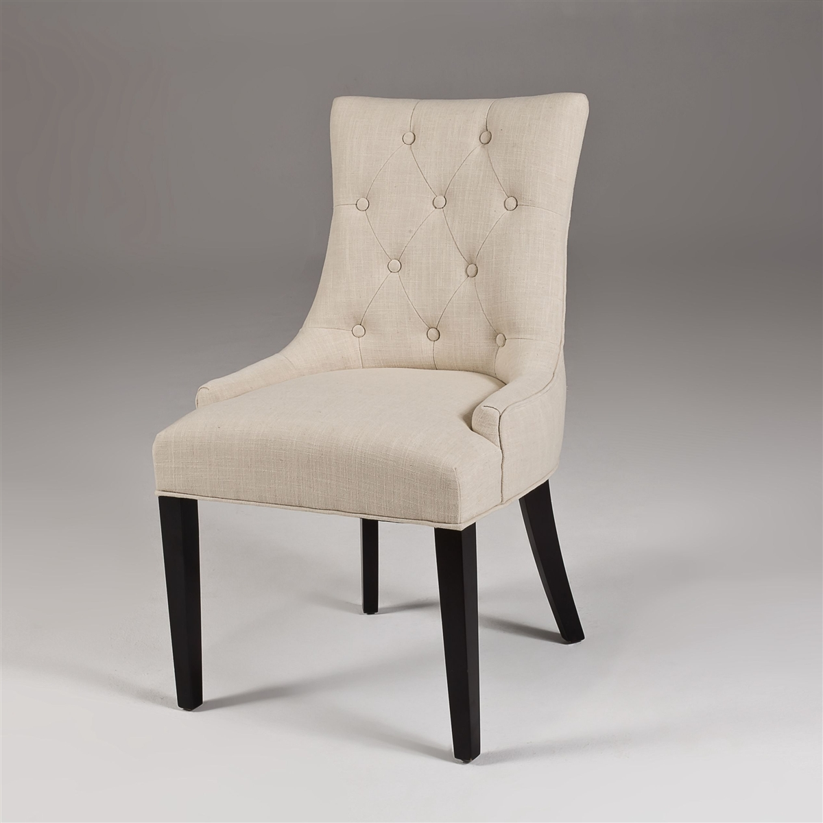 beige dining chairs wedding chair cover hire brighton modern linen tufted in white upholstered
