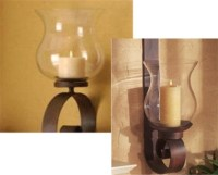Wrought iron candle wall sconce - Scroll Wall Hurricane ...
