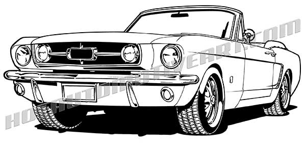 1965 ford mustang convertible clip art buy two images