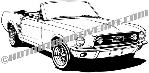 1967 mustang convertible clip art buy two images get one