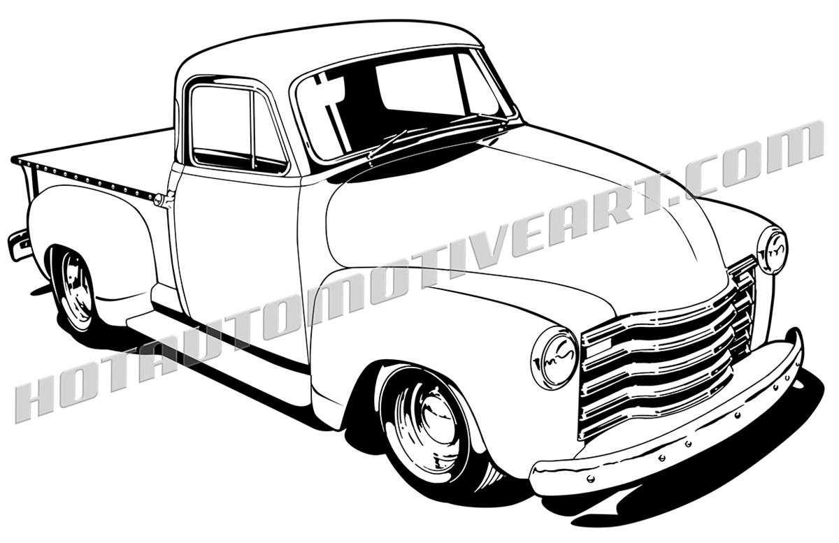1948 chevy pickup truck clipart, high quality
