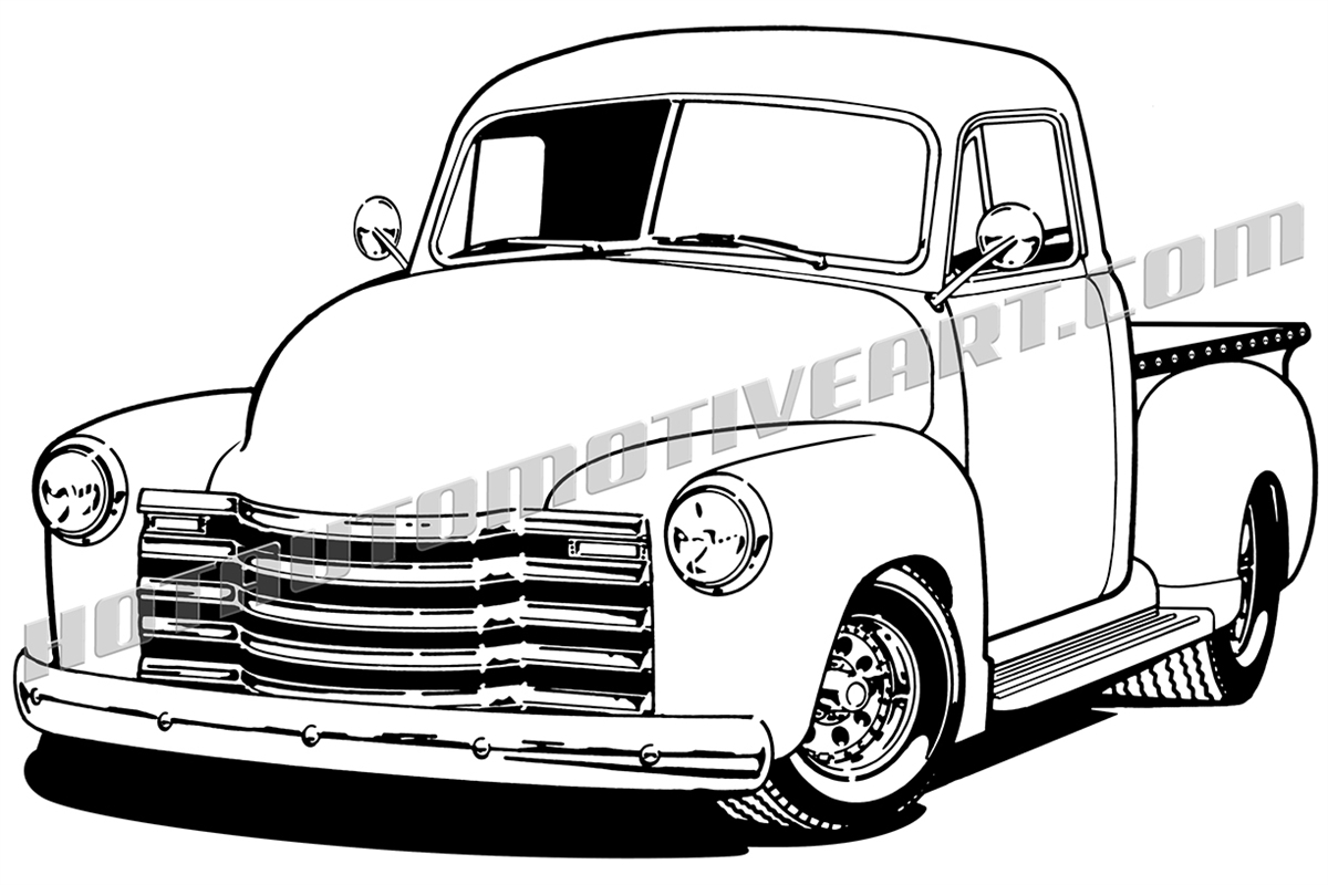 48 chevy truck vector clipart, high quality