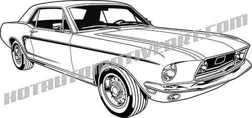 1968 ford mustang hardtop clip art , buy two images, get