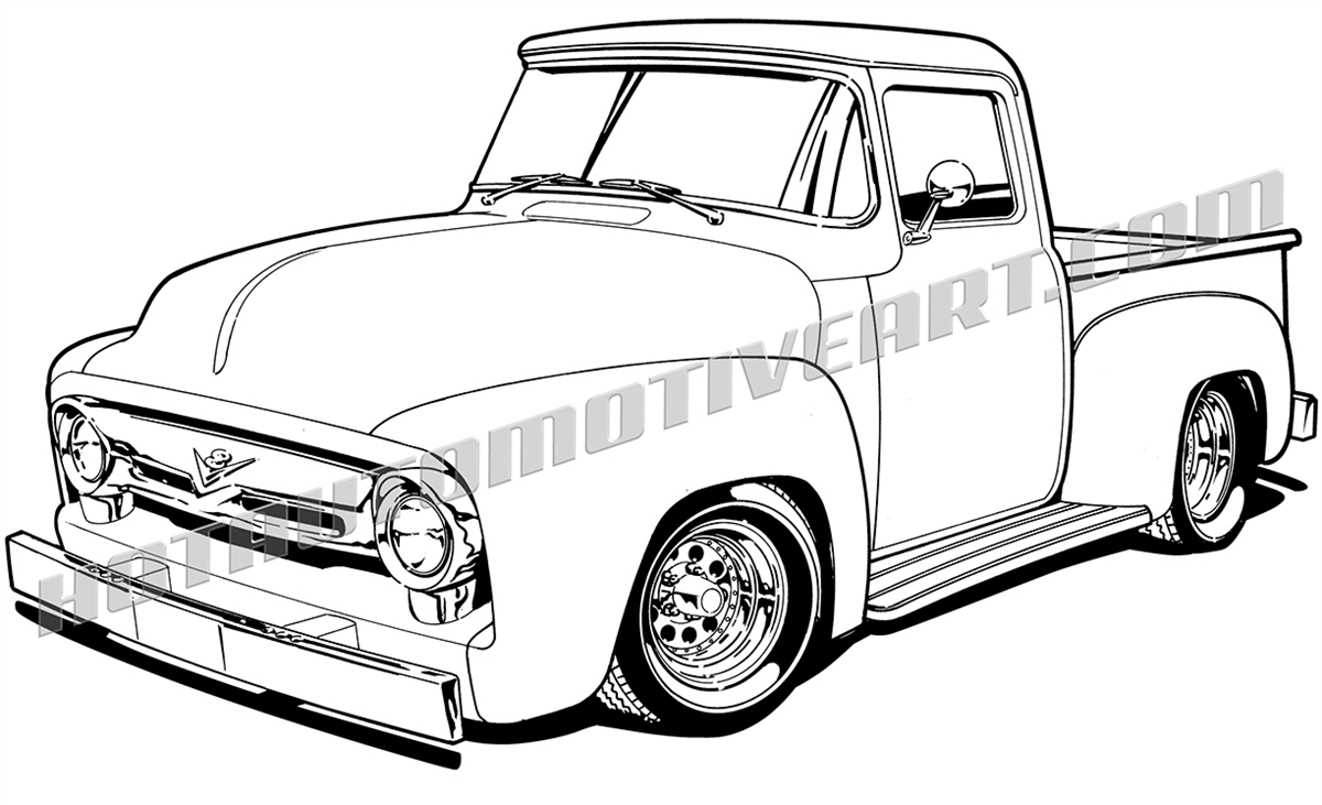 1956 ford truck clipart, black line, high quality