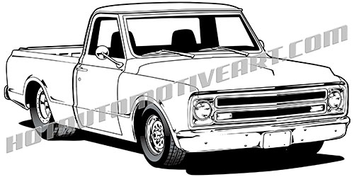 1967 chevy pickup clipart, high quality vector black line art