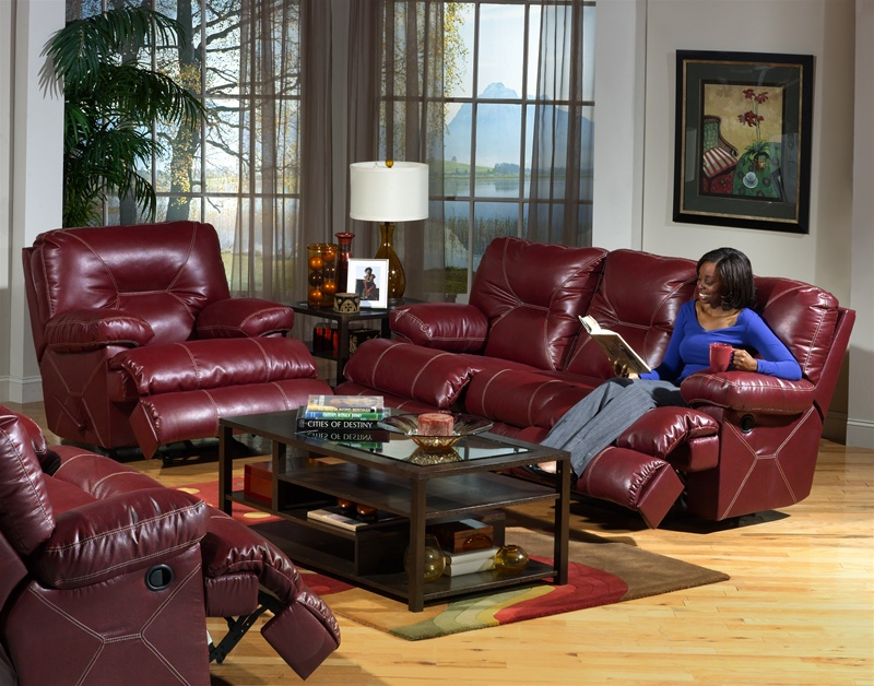 Free delivery on orders over £50. Cortez 2 Piece Dual Reclining Sofa Set in Dark Red Leather ...