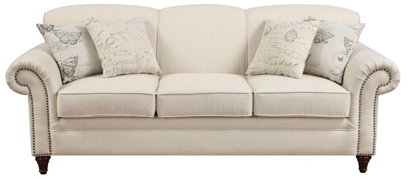 Norah Oatmeal Linen Fabric Sofa by Coaster