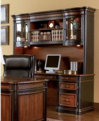 Two-Toned Grand Style Home Office Computer Desk with Hutch ...