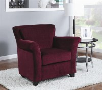 Traditional Occasional Chairs. Burgundy Chenille Accent