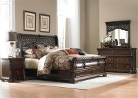 Arbor Place Sleigh Bed 6 Piece Bedroom Set in Brownstone ...