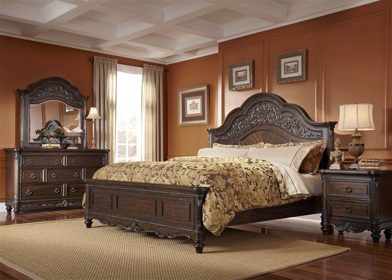 Clayton Manor 6 Piece Bedroom Set In Chestnut Finish By