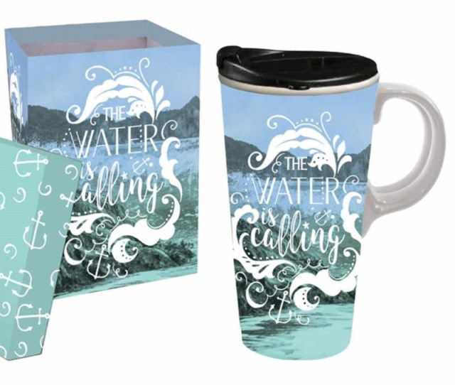 Beach Ceramic Travel Coffee Mug Gift Boxed Dishwasher