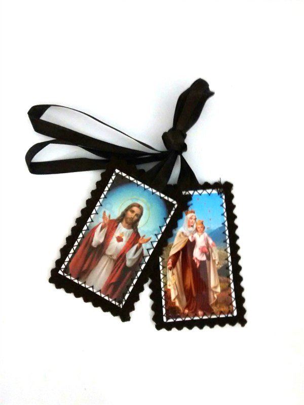 Cloth Sacred Heart And Lady Of Mt. Carmel Brown Scapular