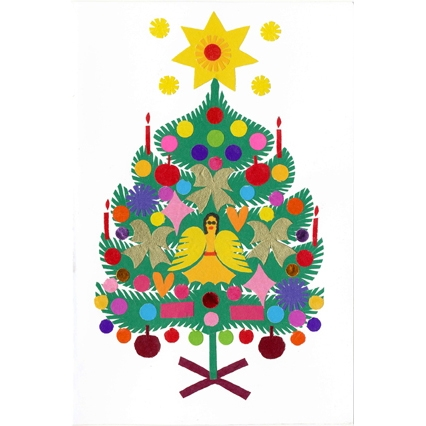 Polish Art Center Wycinanki Christmas Card Oh